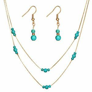 Turquoise Gold Jewelry SET Earrings Necklace NEW